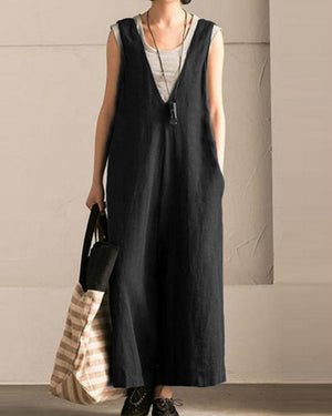 Plus Size Vintage Pure Color Sleeveless Jumpsuits for Women