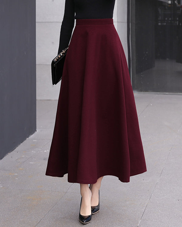 Women Woolen Elegant High Waist Solid Skirts