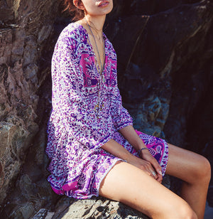V Neck Printed Bohemian Vacation Dresses