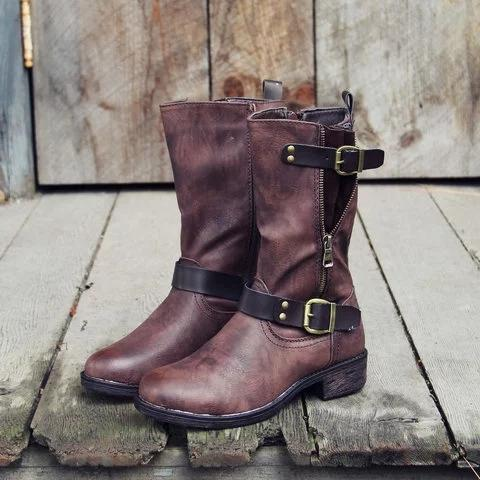 Vintage Mid-calf Boots with Buckle Faux Leather Elastic Band Casual Boots
