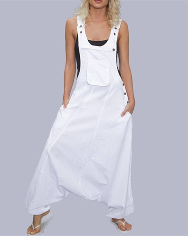 Sleeveless Bib Pants Harem Trousers Jumpsuit Playsuit Overalls