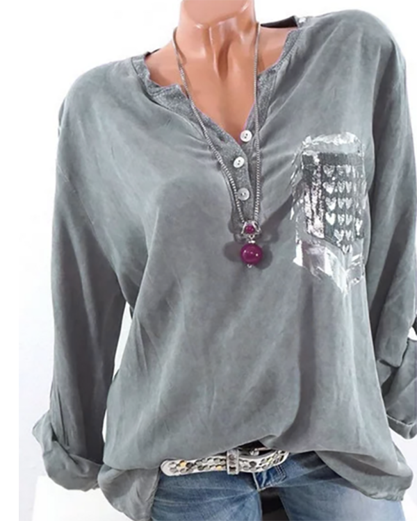 3/4 Sleeve Crew Neck Buttoned Paneled Blouse