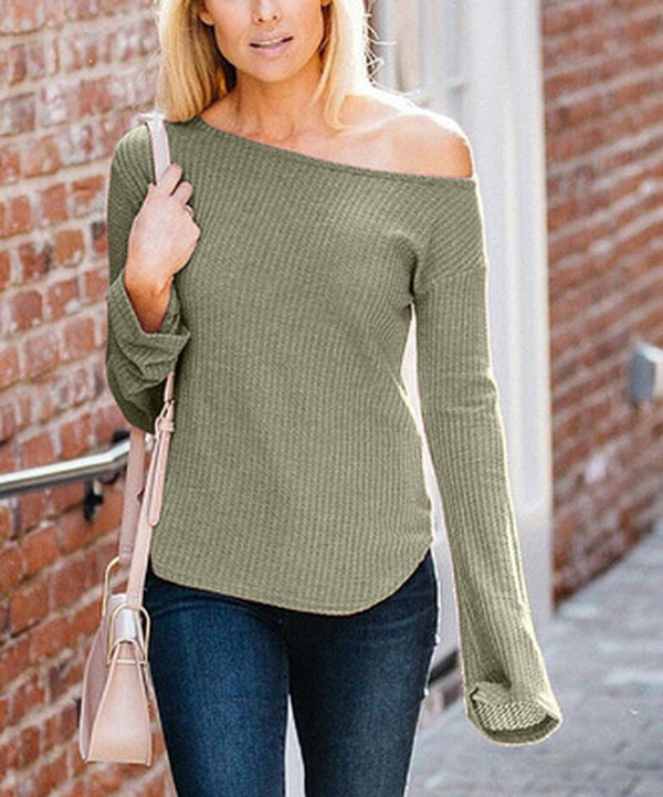 Women Waffle Bell Sleeve Off-Shoulder Top