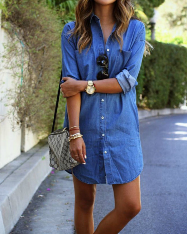 Plus Size Blue H-line Denim Long Sleeve Casual Dress