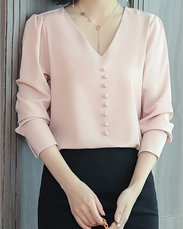 Women Long Sleeve V Neck Chiffon Solid Blouses Tops