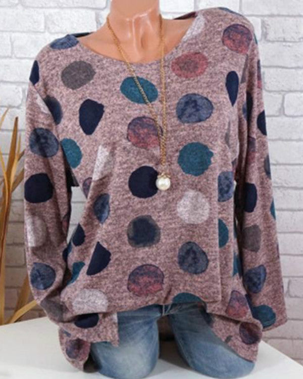 Women Fashion Long Sleeve Dot Printed Top Loose Shirt