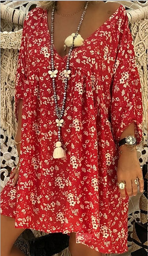 Women Long Sleeve Loose Casual Flower Shirt Long dress Fashion V-neck Chiffon Blouse Casual Shirt