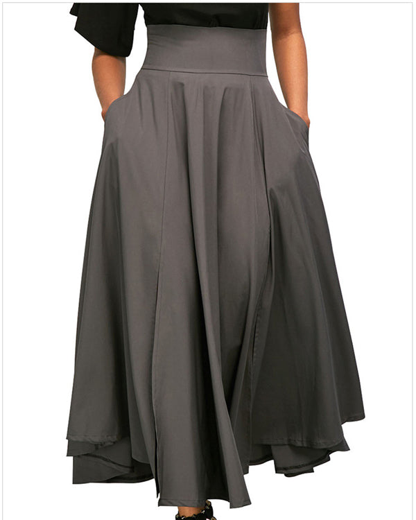 Women Elegant High Waist Pleated Back Zip Straps Skirts