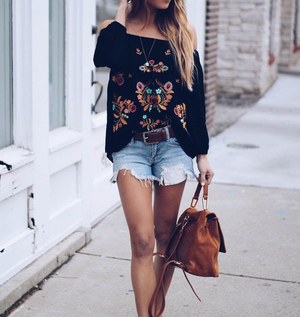 Women Off Shoulder Floral Printed Blouses Tops