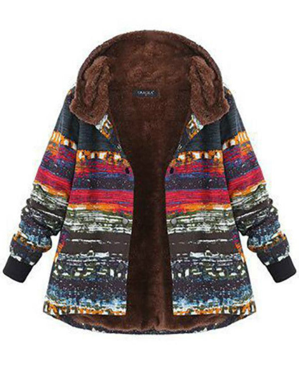 Women Plus Size Vintage Printed Long Sleeve Hoodie Coat