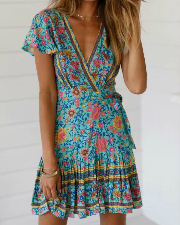 Women V Neck Summer Daily Floral Printed Mini Dresses