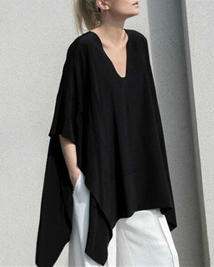 Black Asymmetrical Casual V-Neck Cotton Batwing Blouse Tops