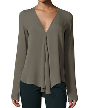 Solid Casual Chiffon Long Sleeve V neck Blouse