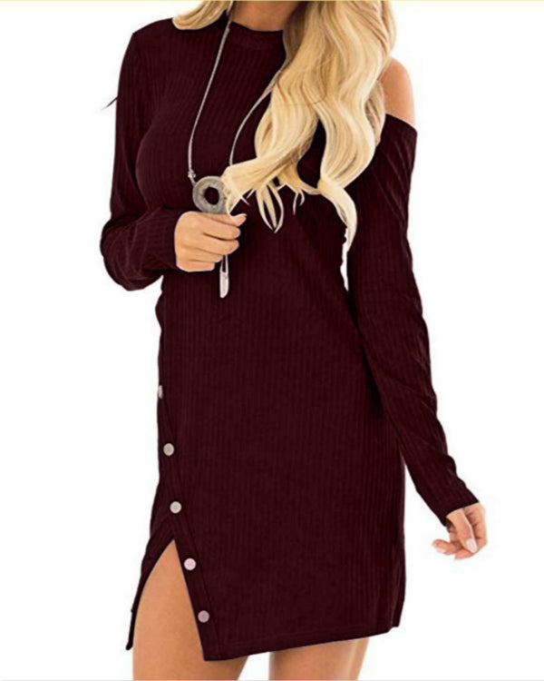 Sexy Off Shoulder Long Sleeve Round Neck Irregular Backless Button Dress