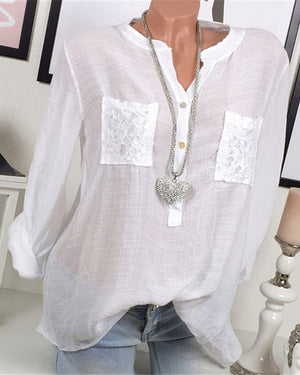 Women Casual Lace Patchwork Long Sleeve V-Neck Plus Size Blouses