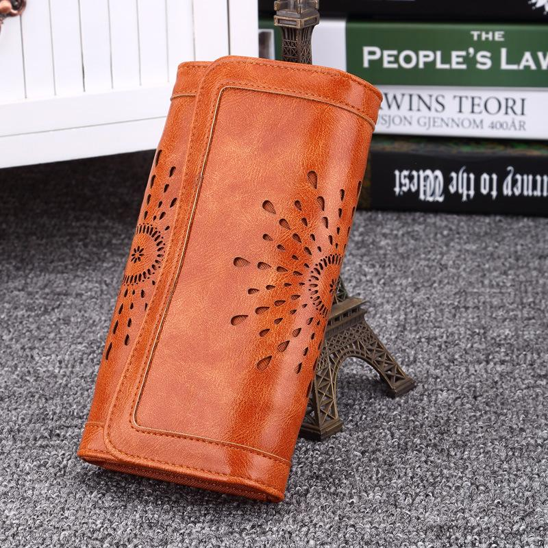 Fashion Hallow Desigh PU Leather Clutch Wallet Purses For Women