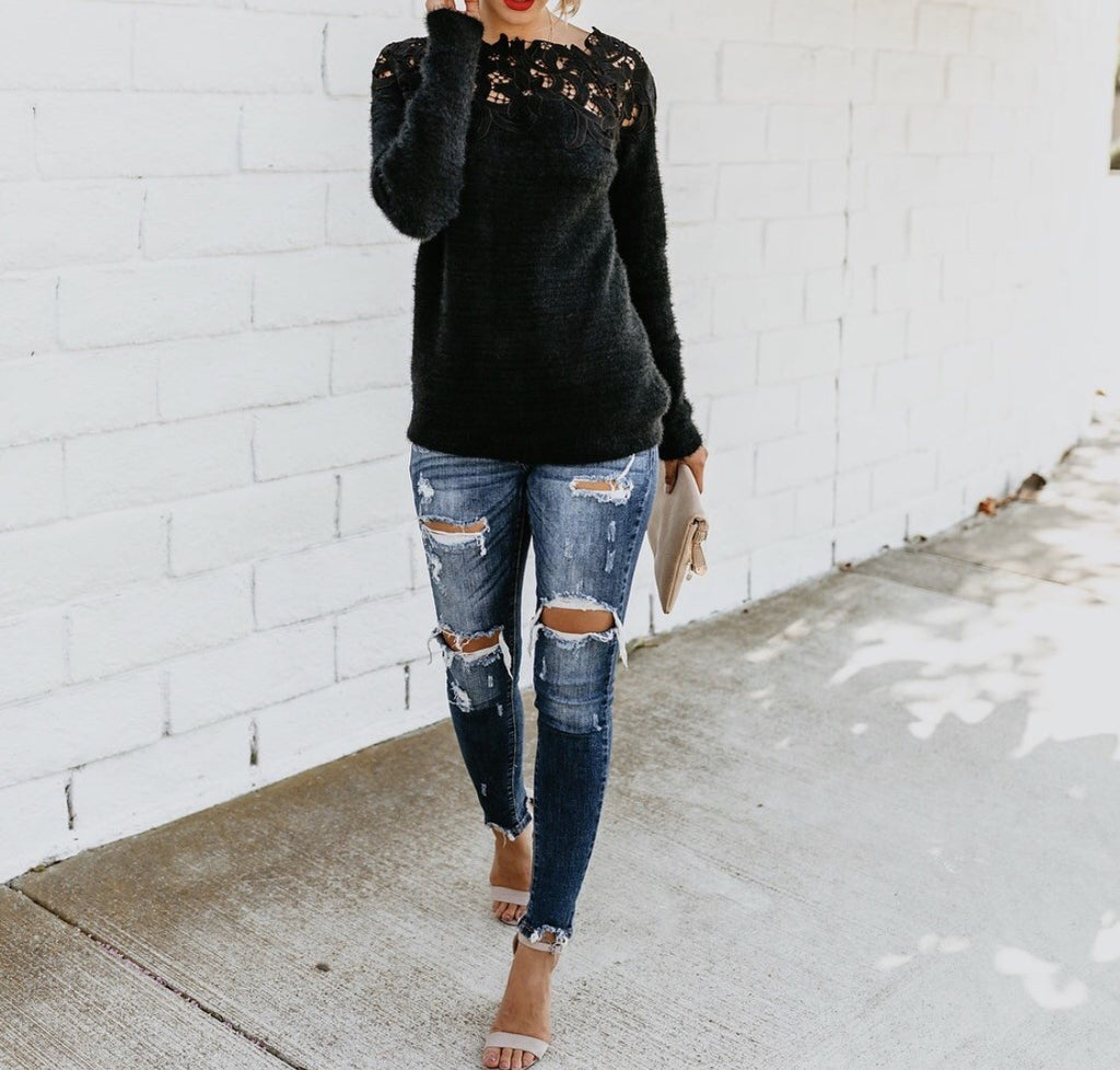 c1bdacc9a4 Women Off Shoulder Lace Patchwork Long Sleeve Sweaters Tops