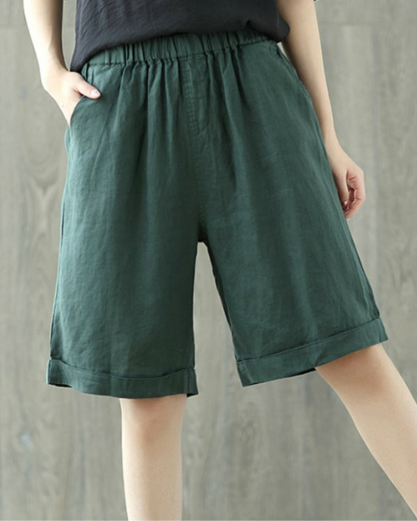 Simple Basic Linen Solid Pockets Plus Size Shorts