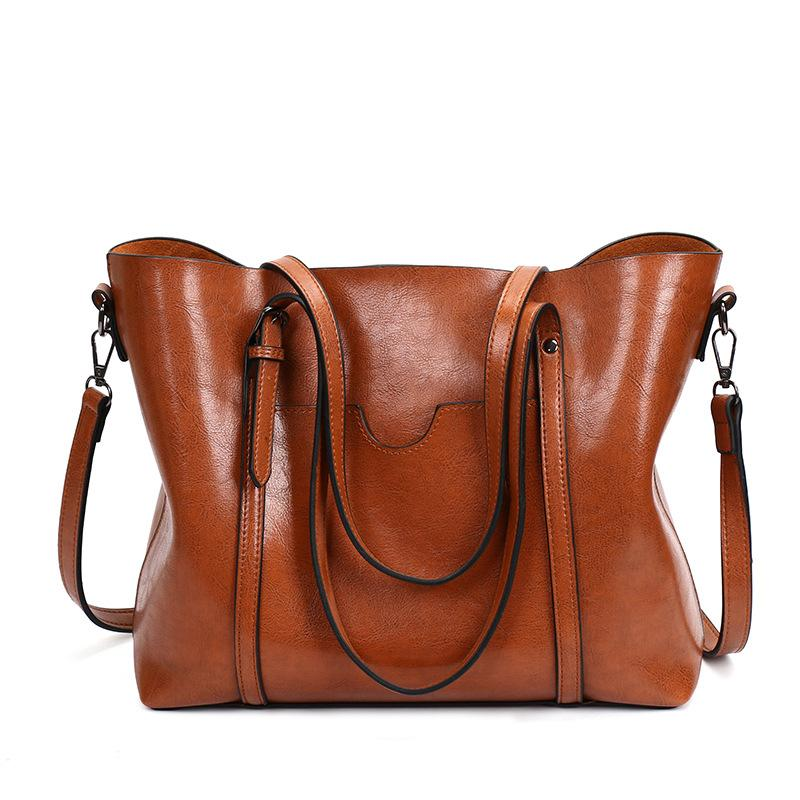 Women Oil Leather Tote Handbags Casual Front Pockets Crossbody Bags  Shoulder Bags cec898b439cd2