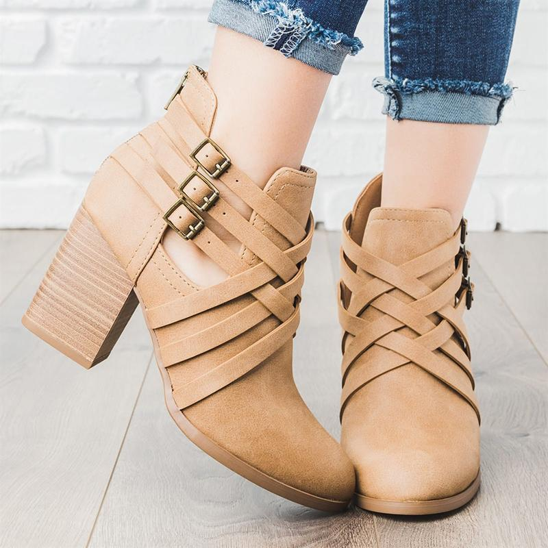 Womens Zipper Casual Triple Belted Booties