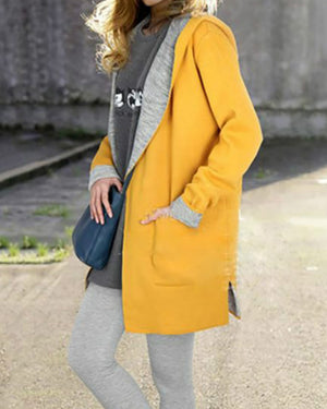 Casual Pockets H-line Long Sleeve Plain Coat