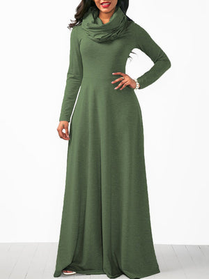 Cowl Neck Women Casual Solid Long Sleeve Plus Size Maxi Dress