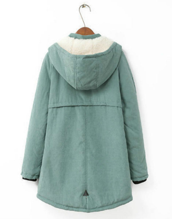 Women Hooded Parkas Outwear Warm Thick Cotton Mid Long Winter Coats Plus Size Jacket