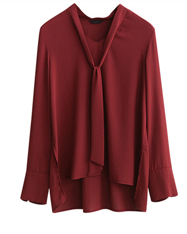 Women Solid Color Tie  Long Sleeve  Plus Size Blouses Tops