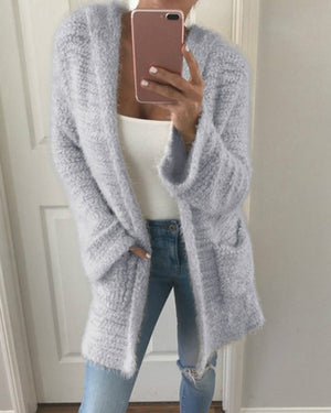 Knitted Hoodie Casual Solid Quilted Coat