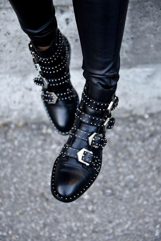 Rivet Belt Buckle Motorcycle Leather Boots