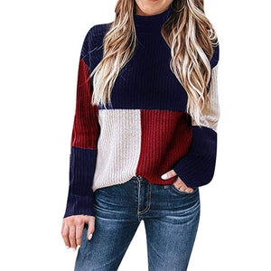 Women's Knitted Sweater Casual Colorblock Stand Long Sleeve Sweater