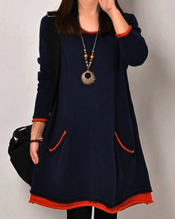Plus Size Women Shift Daytime Casual Paneled Plain Dress