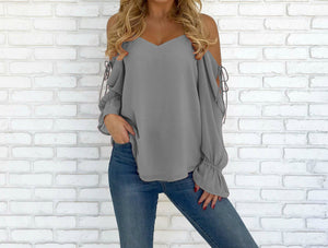 V-neck Cold Shoulder Lace-up Chiffon Blouse Tops