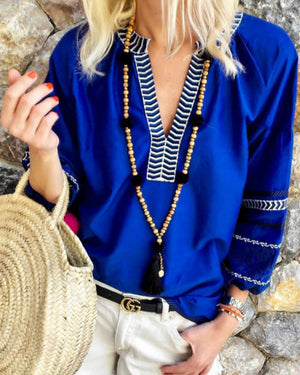 V neck Printed Casual Tribal Balloon Sleeve Blouse