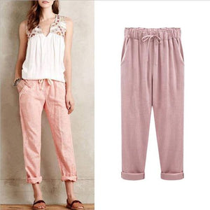 Cotton And Linen Harem Pants Plus Size Loose Comfortable Thin For Women