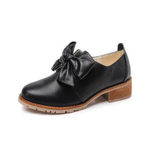 Women Vintage Bow-knot Loafers Chunky Heel Oxford Shoes