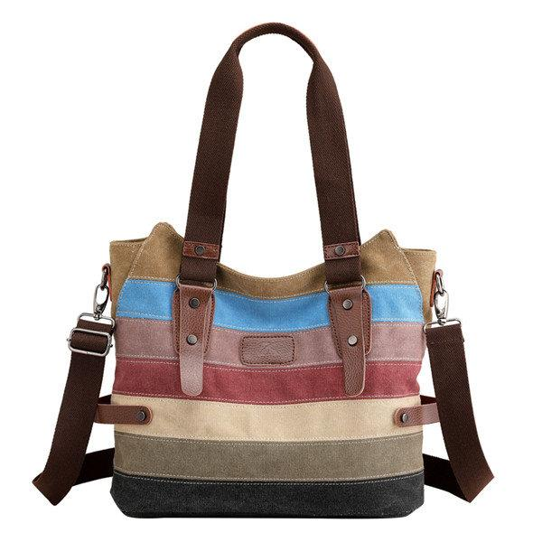 Canvas Stripe Handbag Vintage Contrast Color Shoulder Bag