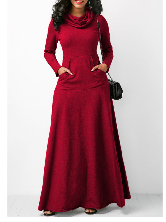 Plus Size Women's Fashion Pocket Solid Color Maxi Long Dress