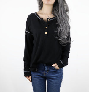 Solid Vintage Buttoned Long Sleeve T-Shirts
