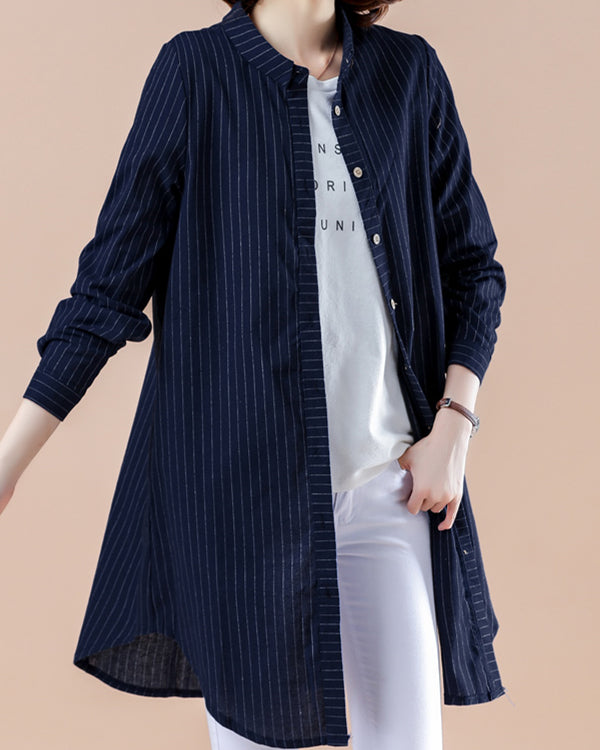 Striped Cotton And Linen  Long Sleeve Blouses Plus Size Tops