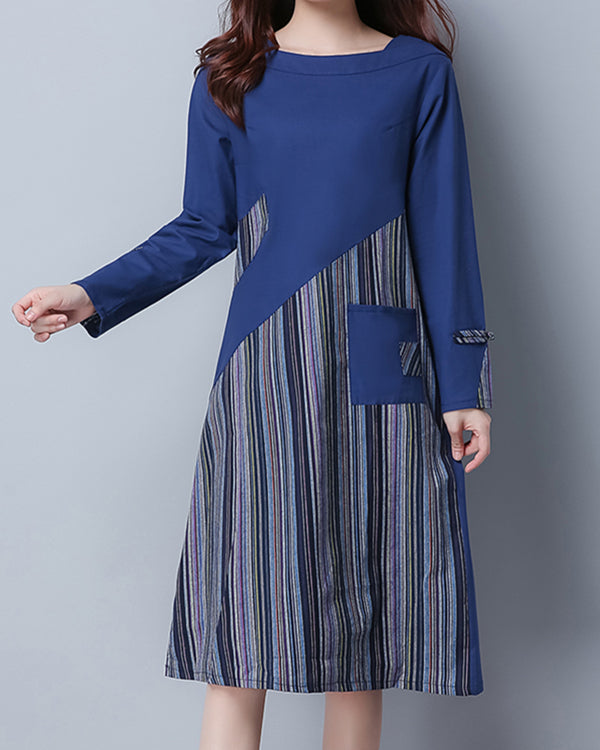 Women's Plus Size Loose Stitching Cotton Linen Long Sleeves Casual Dress