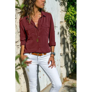 Women Plus Size V Neck Long Sleeve Blouse Casual Loose Pocket Shirt