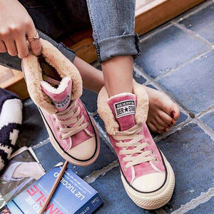 Womens Casual Canvas Snow Sneakers