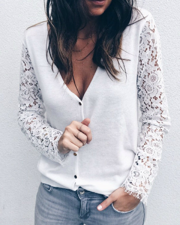 Women Casual Lace Stitching Long Sleeve Buttoned V-Neck T-shirts Tops