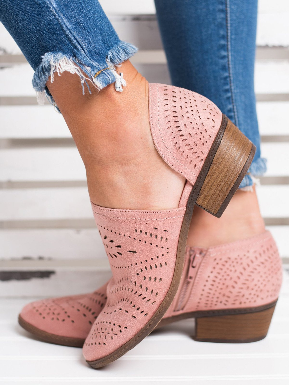 a1007abc6bdd Hollow-out Low Heel Cutout Booties Faux Suede Zipper Ankle Boots ...
