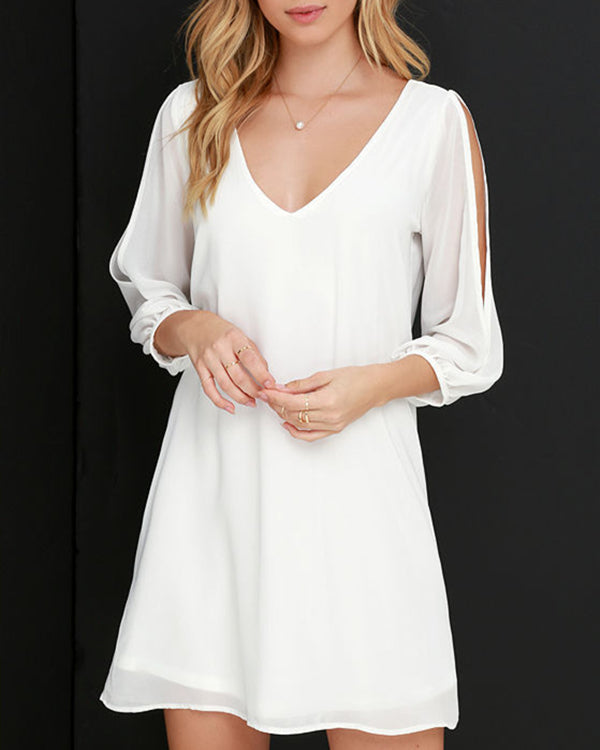 Women V Neck Shift Daily Casual Plain Dress