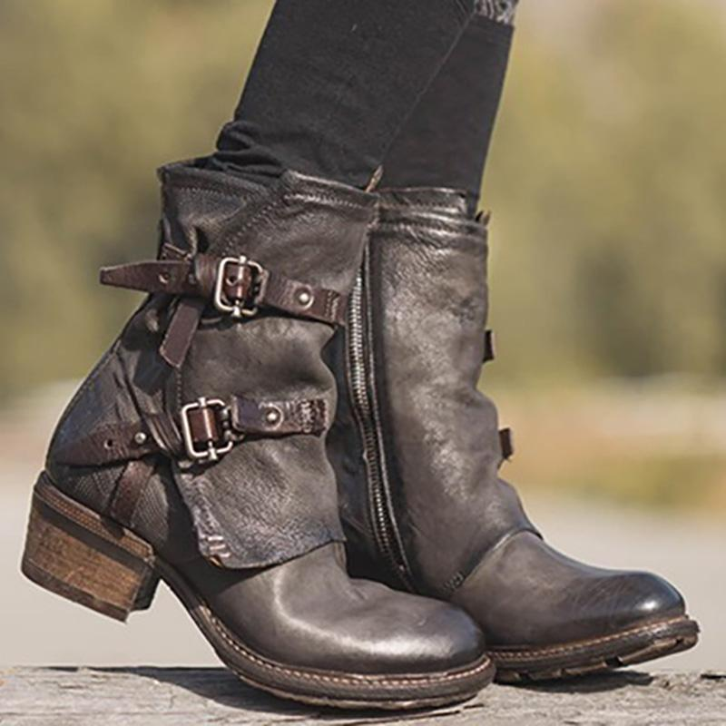 Women Vintage Buckle Boots Side Zipper Round Toe Large Size Boots