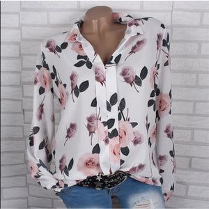 Women Plus Size Printed Floral Shirt Collar Long Sleeve Blouses Tops
