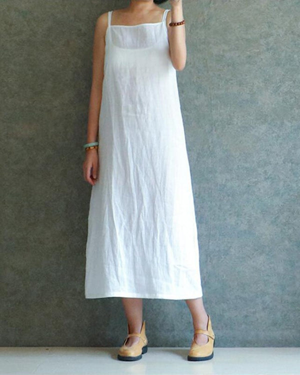 026a51107d Women Casual Sleeveless Solid Cotton And Linen Plus Size Dress