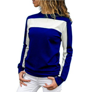 Color Block Crew Neck Slim Long Sleeve Sport Stylish Shirt Tops Women